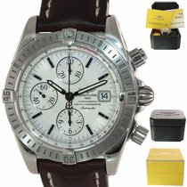 Breitling Chronomat Evolution pre-owned 44mm Silver Chronograph Leather