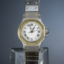 Cartier Santos (submodel) Gold/Steel 24mm Silver Roman numerals