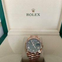 Rolex Day-Date 40 gebraucht 40mm Grün Datum Roségold