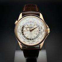 Patek Philippe World Time gebraucht 39.5mm Silber GMT/Zweite Zeitzone Leder
