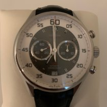 TAG Heuer Carrera Calibre 36 pre-owned 43mm Grey Chronograph Flyback Date Leather