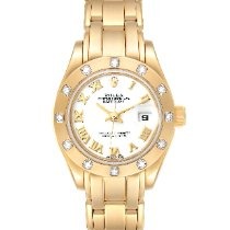 Rolex Yellow gold Automatic White Roman numerals 29mm pre-owned Lady-Datejust Pearlmaster