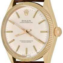 Rolex Oyster Perpetual 34 pre-owned 33mm Silver Crocodile skin