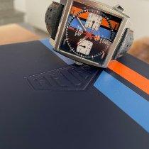 TAG Heuer Monaco gebraucht 39mm Blau Chronograph Datum Leder
