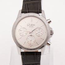 Glashütte Original Senator Chronograph gebraucht 38,5mm Silber Chronograph Leder