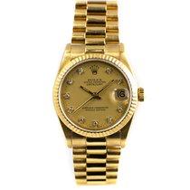 Rolex Żółte złoto Automatyczny Złoty Bez cyfr 31mm używany Datejust 31