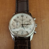 Longines Master Collection pre-owned 40mm Silver Chronograph Date Crocodile skin