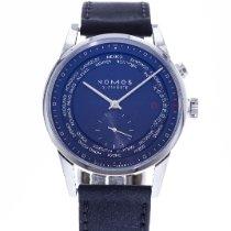NOMOS Zürich Weltzeit pre-owned 39.9mm Blue Date Leather