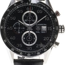 TAG Heuer Carrera Calibre 1887 pre-owned 43mm Black Leather