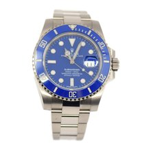 Rolex White gold Automatic Blue No numerals 40mm pre-owned Submariner Date