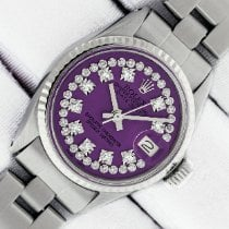 Rolex Steel Automatic Purple 26mm pre-owned Oyster Perpetual Lady Date
