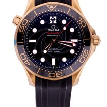 Omega Seamaster Diver 300 M Or jaune 42mm Noir Sans chiffres