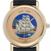 Ulysse Nardin Yellow gold Automatic Champagne Roman numerals 37mm pre-owned San Marco Cloisonné