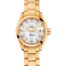 Omega Yellow gold Automatic Mother of pearl 30mm new Seamaster Aqua Terra