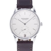NOMOS Orion Datum pre-owned 38mm Silver Leather
