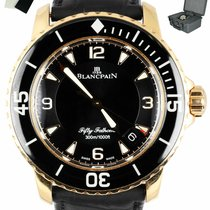 Blancpain Rose gold Automatic Black 45mm pre-owned Fifty Fathoms