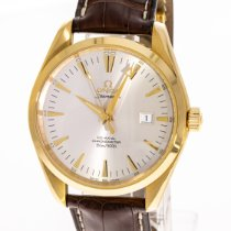 Omega Yellow gold Automatic Silver 41mm pre-owned Seamaster Aqua Terra