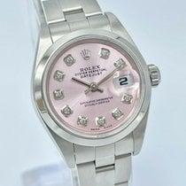 Rolex Oyster Perpetual Lady Date Stal 26mm Różowy Bez cyfr