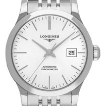 Longines Record Stahl 30mm Silber