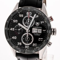 TAG Heuer Steel Automatic Black Arabic numerals 43mm pre-owned Carrera Calibre 16