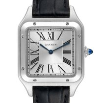Cartier Steel Quartz Silver Roman numerals 43.5mm pre-owned Santos Dumont