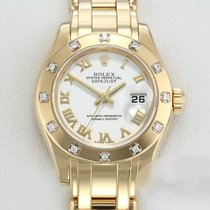 Rolex Lady-Datejust Pearlmaster Ouro amarelo 29mm Branco Romanos