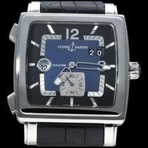Ulysse Nardin Quadrato Dual Time pre-owned 42mm Blue Date Crocodile skin