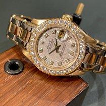 Rolex Lady-Datejust Pearlmaster Or jaune 29mm Gris Sans chiffres