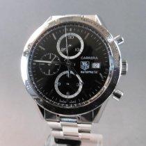 TAG Heuer Carrera Calibre 16 gebraucht 41mm Schwarz Chronograph Datum Tachymeter Stahl