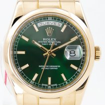 Rolex Day-Date 36 Желтое золото 36mm Зеленый
