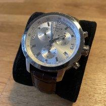 Tissot PRC 200 gebraucht 42mm Silber Chronograph Datum Leder
