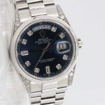 Rolex Platin Automatik Blau 36mm gebraucht Day-Date 36
