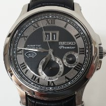 Seiko Premier Kinetic Perpetual Steel 40.5mm Silver Roman numerals