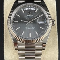 Rolex Day-Date 40 gebraucht 40mm Grau Datum Wochentagsanzeige Weißgold