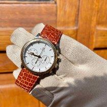 Omega De Ville gebraucht 38mm Weiß Chronograph Leder