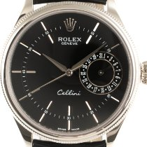Rolex Cellini Date Or blanc 39mm Noir