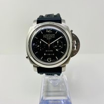 Panerai Luminor 1950 8 Days Chrono Monopulsante GMT Otel 44mm Negru Arabic