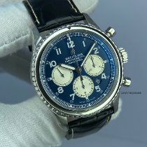 Breitling Navitimer 8 pre-owned 43mm Blue Chronograph Date Crocodile skin