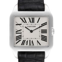 Cartier White gold Manual winding Silver Roman numerals 29mm pre-owned Santos Dumont