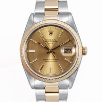 Rolex Oyster Perpetual Date Steel 34mm Champagne No numerals