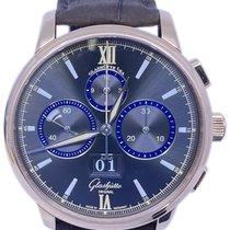 Glashütte Original Senator Chronograph gebraucht 14mm Grau Chronograph Datum Faltschließe