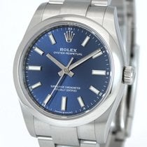Rolex Oyster Perpetual 34 Stål 34mm Blå Inga siffror