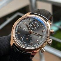 IWC Portuguese Chronograph begagnad 42mm Grå Kronograf Datum Krokodilläder