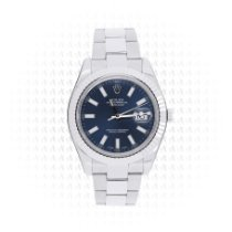 Rolex White gold Automatic Blue No numerals 41mm pre-owned Datejust II