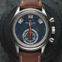 Patek Philippe Белое золото Автоподзавод Синий Без цифр 40.5mm подержанные Annual Calendar Chronograph
