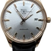Ball Rose gold Automatic Silver 39.5mm pre-owned Trainmaster