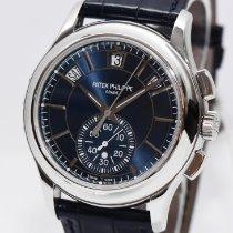 Patek Philippe Annual Calendar Chronograph gebraucht 42mm Blau Chronograph Datum Jahreskalender Krokodilleder