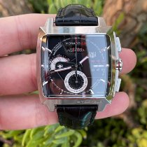 TAG Heuer Monaco Calibre 12 pre-owned 40.5mm Black Chronograph Date Fold clasp