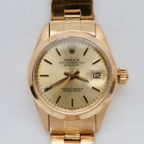 Rolex Oyster Perpetual Lady Date Yellow gold 26mm Champagne No numerals