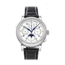 A. Lange & Söhne 1815 pre-owned 41.9mm Silver Moon phase Chronograph Date Month Crocodile skin